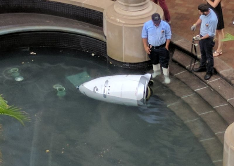 Security guard robot ends it all by throwing itself into a watery grave